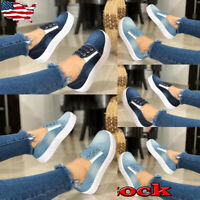 Womens Fashion Denim Round Toe Slip-On Loafers Casual Flat Bottom Sneakers Shoes