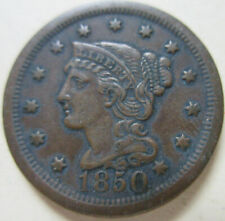 1850 U.S. Braided Hair Large Cent Coin. VERY NICE GRADE (C412)
