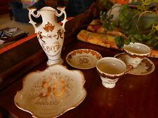 50th Wedding Anniversary Set Vase Tea / coffee Cups Plaque Celebration!