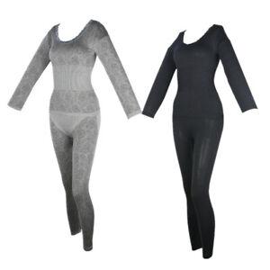 Ladies Thermal Underwear Long Sleeve Nightwear Winter Warm Tops Pant Pajamas Set