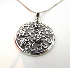 Funky 925 Sterling Silver Vintage Style Flower & Leaf Necklace With Silver Chain
