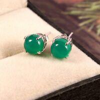 Natural Green Onyx Earrings Studs Dainty Handmade Tiny 925 Sterling Silver Boho