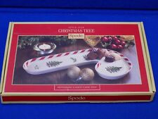Spode Christmas Tree Peppermint Candy Cane Tray Serving China Dish Holiday Box