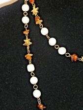 Vintage Cream/Ivory Amber Coloured Beaded Necklace Shiny Gold Tone