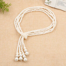 White Round Pearls Pendant Sweater Necklace Universal Long Chain Beads Jewelry