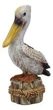 "4.75""H Small Ocean Beach Coastal Great White Pelican Bird On Getty Post Figurine"