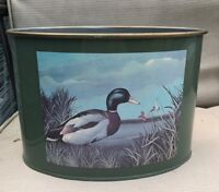 VINTAGE LARGE METAL DESK CADDY PENCIL CUP HOLDER Duck Mallard Design Green
