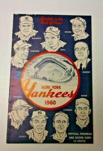 1960 NEW YORK YANKEES PROGRAM SCORECARD VS CLEVELAND INDIANS MLB BASEBALL RARE