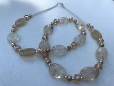 HDMD by Cyndi Necklace of Honey Quartz, Glass, Freshwater Pearls, Silver Spacers