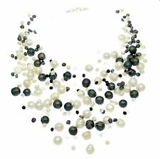 Pearl Floating Illusion Necklace Black & White Pearls Multi String Cluster