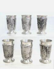 More details for set of 6x sks zinn 95% assorted design pewter metalware 2.5