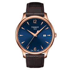 New Tissot Tradition Blue Dial Leather Band Men's Watch T063.610.36.047.00