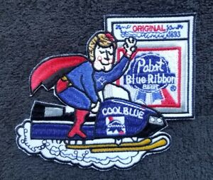 Vintage  Snowmobile Pabst Beer Blue Ribbon Cool Blue Sew On Patch