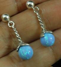 USA BLUE Fire OPAL 8mm Sphere Ball .925 Sterling Silver drop Earrings Post Stud
