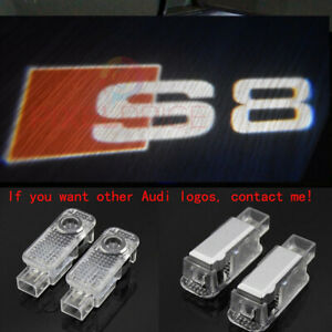 2 Audi S8 Logo LED Laser Projector Car Door Welcome Ghost Courtesy Shadow Lights