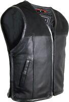 Motorrad Biker Lederweste Nubuk und Glatt Leder Reißverschluss Kutte erweiterbar