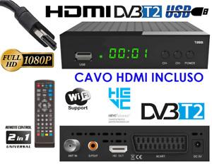 Decoder Digitale Terrestre HDMI DVB-T2 HEVC Full HD Ricevitore TV H265 HDMI INCL