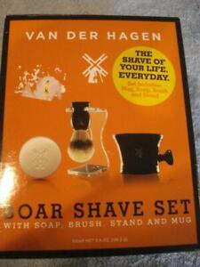 BRAND NEW VAN DER HAGEN BOAR SHAVE SET w/ SOAP, BRUSH, STAND, & MUG