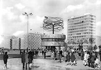 AK, Berlin Mitte, Alexanderplatz mit Weltzeituhr, belebt, 1972