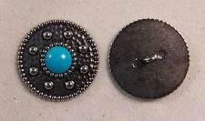 "Set of 6 JHB Silver Turquoise Round Metal Buttons Southwest 1-3/16"" 30 mm lyk017"
