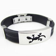 Cool Black Rubber Bangle lizard mark Stainless Steel Bracelet