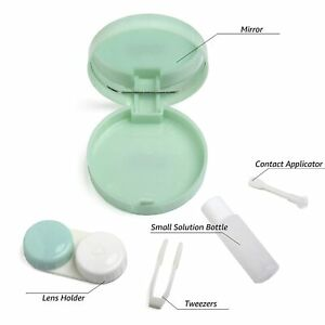 Portable Contact Lens case Container Kit with Mirror Tweezer Applicator Green