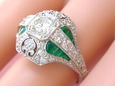 Platinum Cocktail Engagement Right-Hand Ring Art Deco 1.61ctw Diamond Emerald