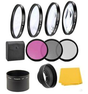 4Pc Macro Close-up Filter Kit & UV-CPL-FLD Filter, Hood For Panasonic DMC-LX7