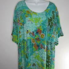 Ulla Popken A-Line Kaftan Lounge Dress 20/22 Turquoise Blue Floral Hanky Hem