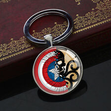 Vintage Keychains Captain America Red Skull Hydra Silver Glass Pendant Key Chain