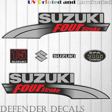 Suzuki 15HP Four Stroke outboard engine decal sticker set kit reproduction 15 HP