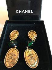 Chanel Gold Crown Earrings | Vintage Green Glass Gripoix Dangle Gold ClipOn RARE