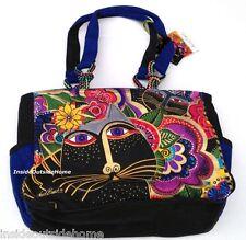 Laurel Burch Carlottas Black Cats Garden Medium Large Tote Bag Outer Pockets Nw