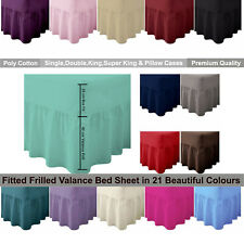 Extra Deep Fitted Frilled Valance Sheet 100% Poly Cotton Sheet Single-Super King
