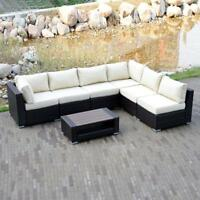 Option Outdoor Patio Furniture Couch Rattan Wicker Sectional Sofa Cushioned Set