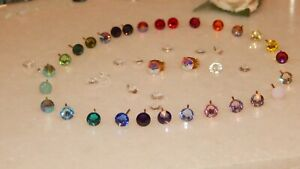 Beautiful G/P Stud Earrings with 5mm Crystal-Choice of 71 Colours-Wedding-Gifts