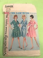Vintage '50s Simplicity 5848 Sewing Pattern Dress w.2 style skirts Size 14-1/2