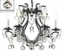 "BLACK WROUGHT IRON CRYSTAL CHANDELIER LIGHTING 19"" x 20""  w/ CRYSTAL BALLS!"