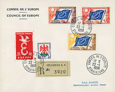 "CE10-PJ2/4R Registered FDC Council of Europe ""Temporary postage"" 1959"