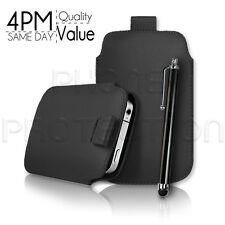Leder Pull Tab Hülle Case Etui Cover und Stylus Pen Für Verschiedene HTC Handys