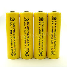 4pcs AA 2A 3000mAH 1.2V NiMH Recharge Battery Rechargeable Ni-MH yellow