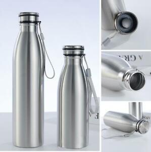 Stainless Steel Water Bottle Single Walled Outdoor Sports Metal Flask uk