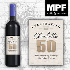 Personalised Birthday Wine Bottle Label - 18th, 21st, 30th, 40th (vintage cream)