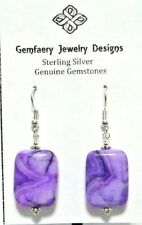 Sterling Silver Purple CRAZY LACE AGATE Dangle Earrings #2113...Handmade USA