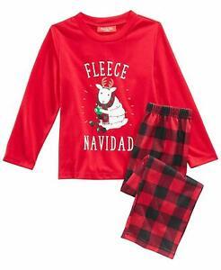 Family PJs Kids Fleece Navidad Pajama Set Red 4-5