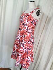M&Co petite dress size 12. red purple white flower design. wide shoulder straps