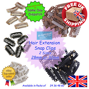 Hair Extension Snap Clips 28mm or 32mm for Wefts to Create Clip-Ins Free Postage