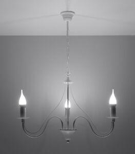 Kronleuchter wieß FIORANO 3 x E14 Deckenlampe Stahl Kerzen elegant Pendel NL