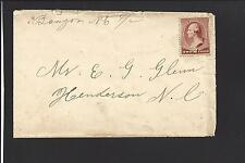BANGOR, NORTH CAROLINA COVER,1888. #210 MANUSCRIPT. DPO: WAKE1880/04 SR/6 SCARCE