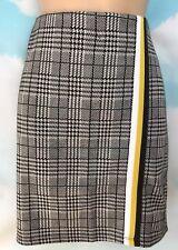 BNWT NEW LOOK 12 Black Check Print Tape Stretch Mini Short Skirt